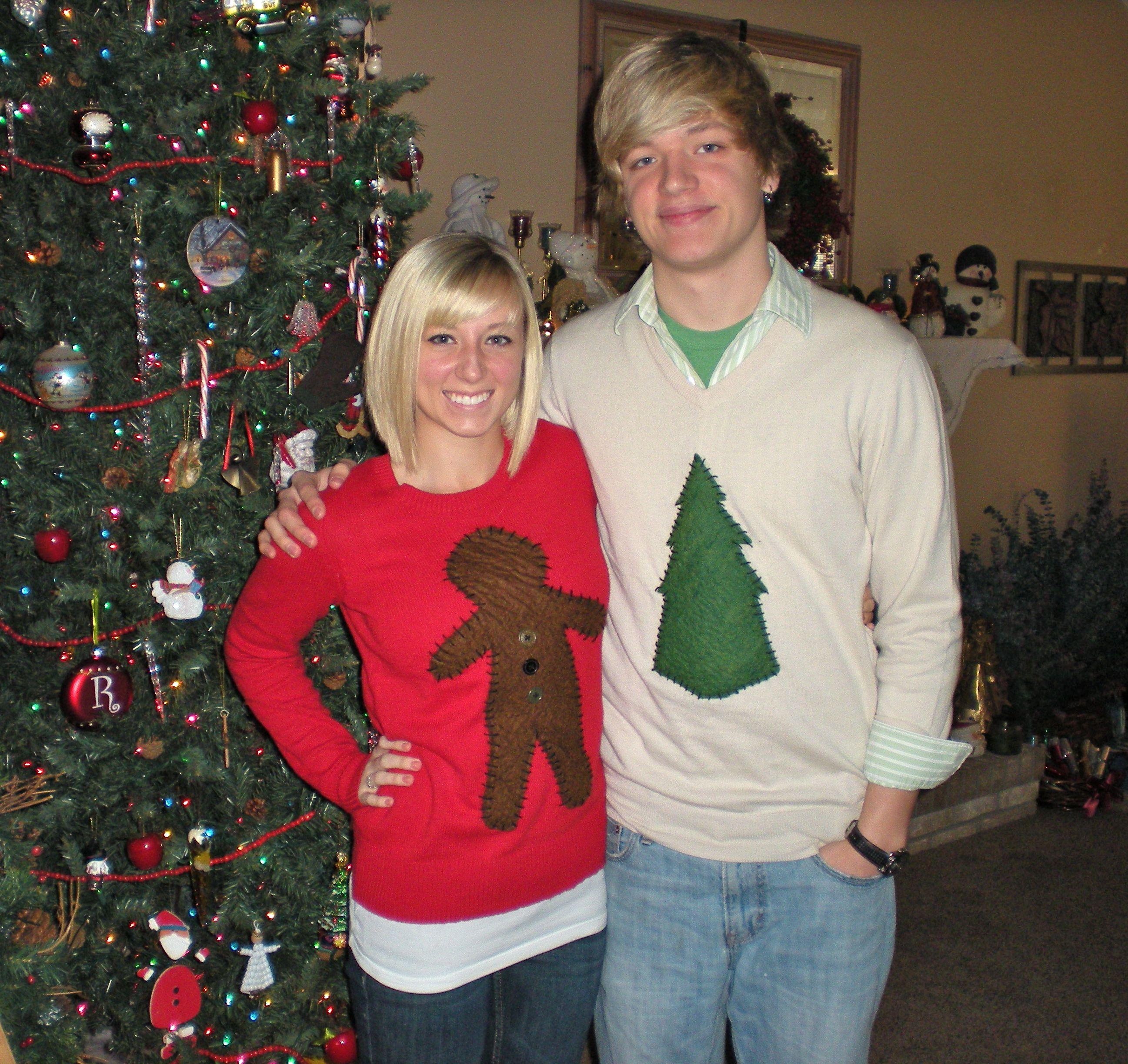 Handmade Christmas sweaters: Old Navy $10 sweaters, some felt, black ...