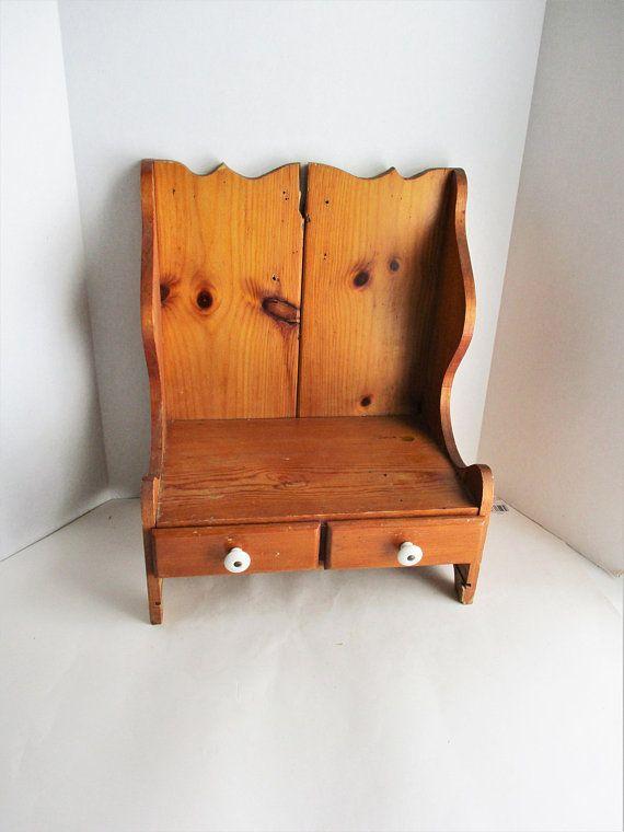 Fantastic Vintage Pine Kitchen Shelf Rustic Wood Two Drawer Desk Camellatalisay Diy Chair Ideas Camellatalisaycom