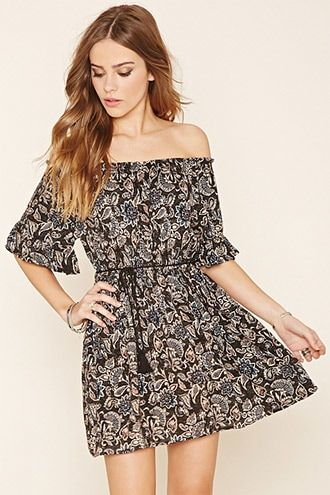 Dark orange,black FOREVER21  casual dress  for woman off-the-shoulder,floral print dress,crinkled woven #vestidoinformal #camisole #túnica #shift #pleat #pleated #drape #t-shape #daisy #foldedshoulder #summer #loosefit #tunictop #swing #day #offtheshoulder #smock #print #printed #tea #babydolldress #polodress #pansybow #sundress #offshoulder