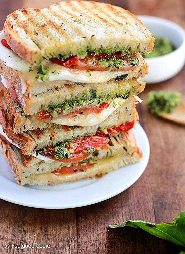 Homemade Grilled Mozzarella Sandwich with Walnut Pesto and Tomato that's easy to assemble and burst