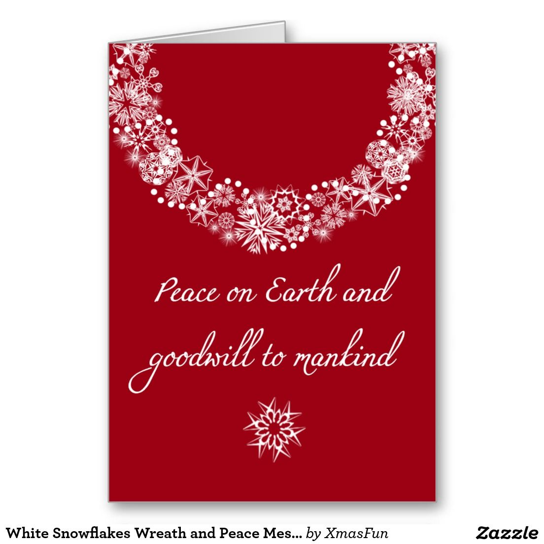 White snowflakes wreath and peace message card snowflake wreath white snowflakes wreath and peace message card m4hsunfo Images
