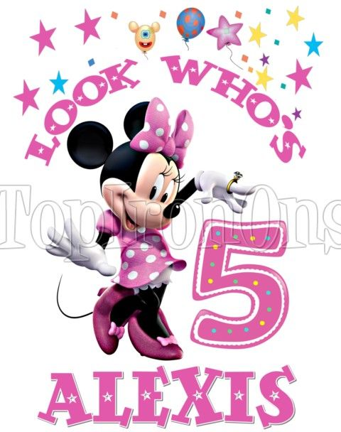 Minnie Mouse Personalized Birthday Custom T Shirt Iron on Transfer