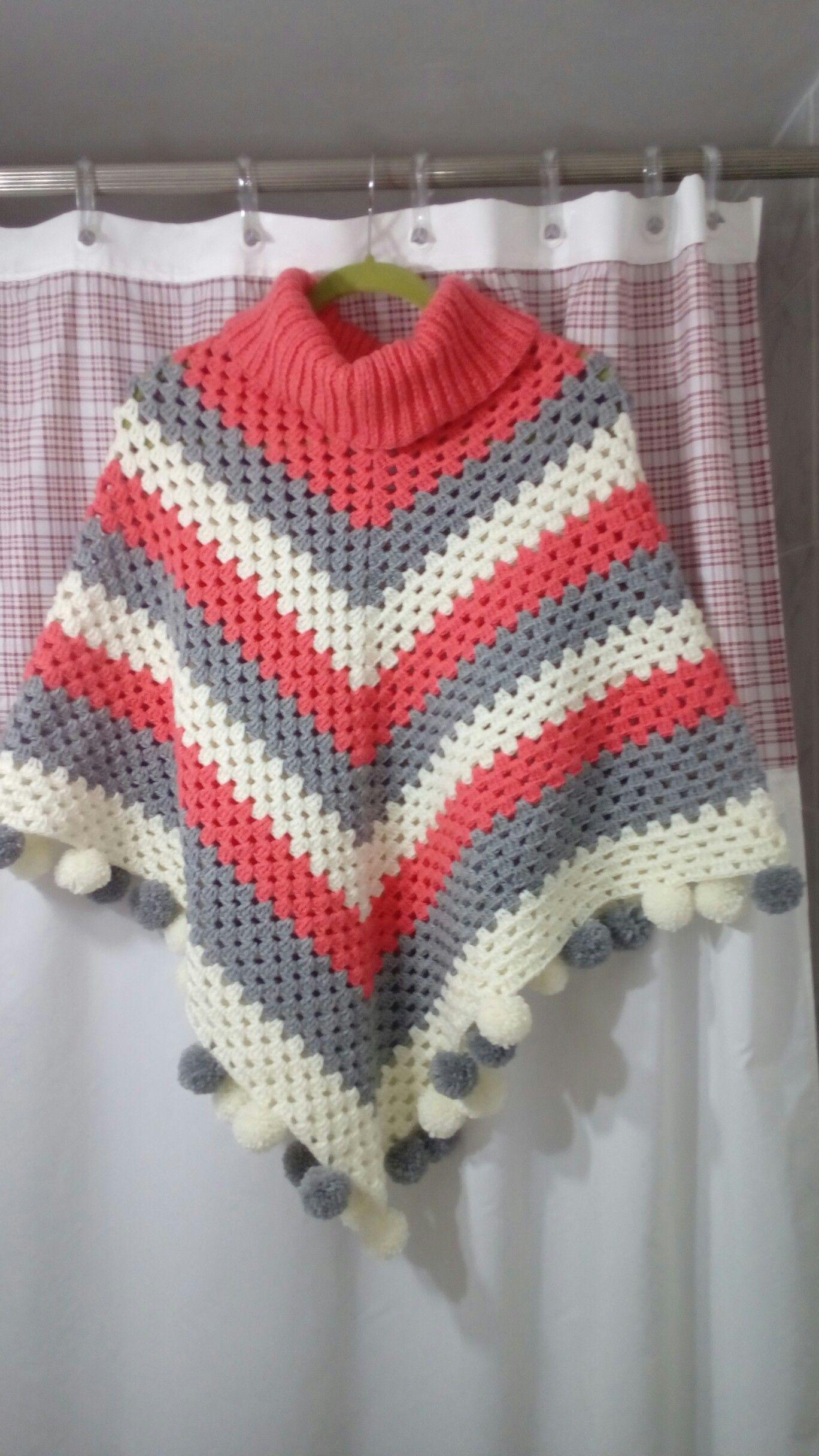 Poncho tejido a crochet con lana Cisne Rendidora   poncho a crochet ...