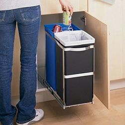 Frontgate Simplehuman Pull Out Recycler Trash And Recycling Bins Roll Of Sight Into A Cabinet Two Durable Color Coded Buckets Make It Easy To Sort