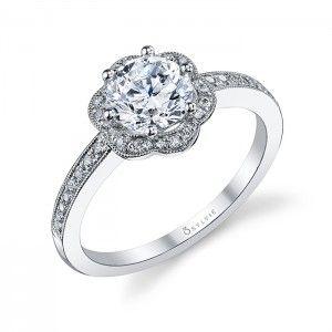 Glamorous Floral Halo Diamond Engagement Ring