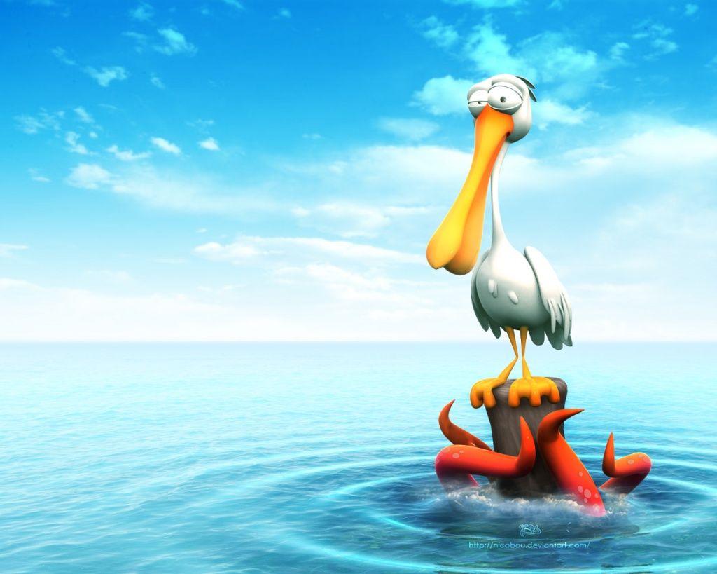 Cartoon Ocean Animals Cartoon Bird Wallpapers 5077 In