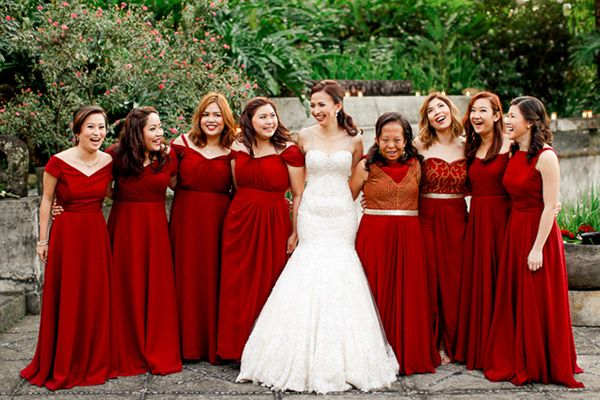 Berry Bliss Burgundy Bridesmaid Dresses Entourage Gowns