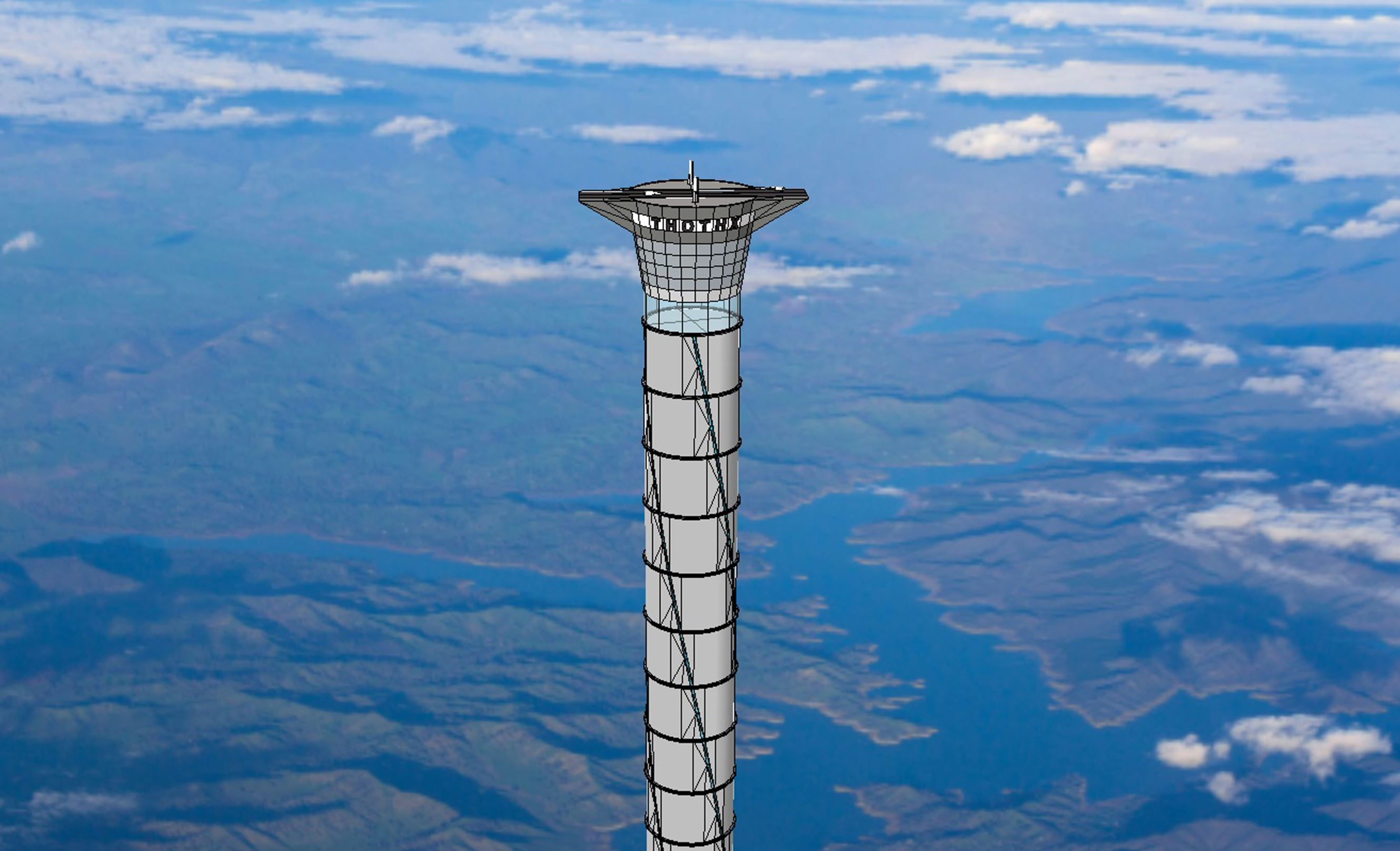 "This undated artists rendering shows the design for a ""space elevator"" which would be 20 times highe... - Provided by AFP"