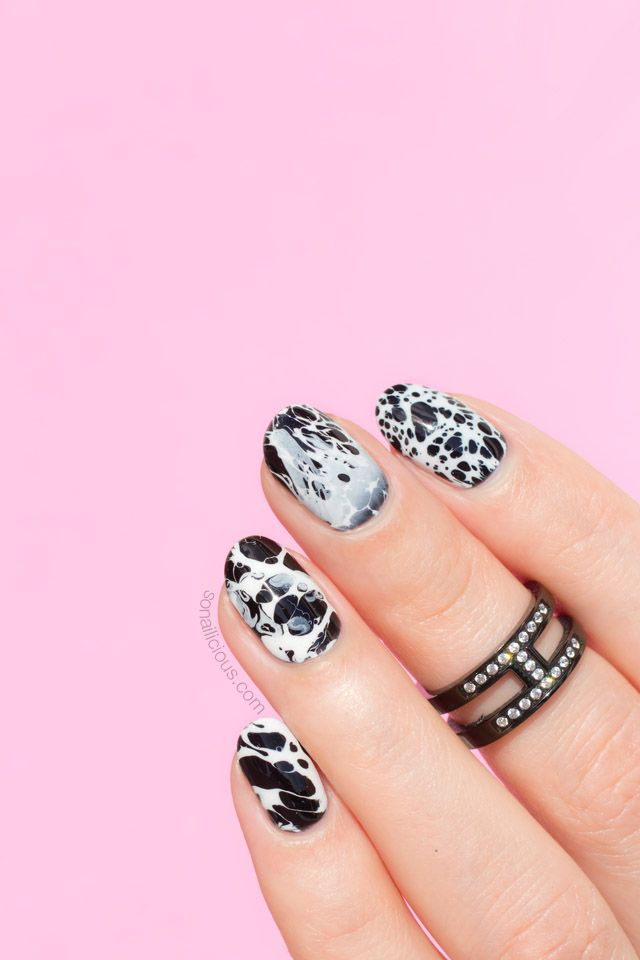 Stone Effect Black and White Nails [New Nail Art Technique!] | White ...