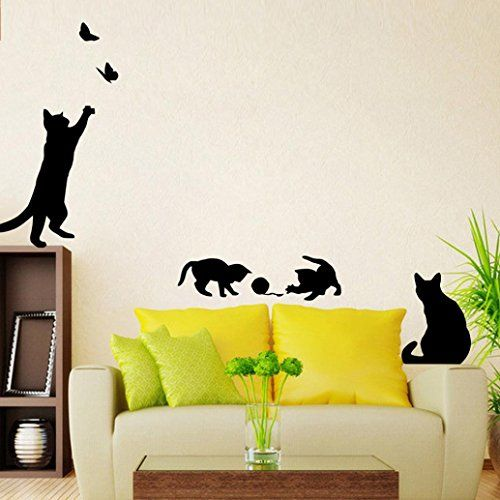 Datework Cats Butterfly Wall Stickers Art Decals Mural Wallpaper ...