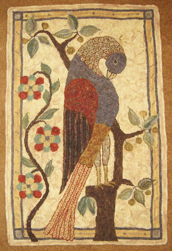 1800 Pelican Fraktur rug hooking pattern, 17 X 29 inches with at least 3 inches extra backing along sides. Edges are serged. A photo of my finished rug is included with each pattern. Patterns are available on natural linen or cotton rug warp. This is a pattern only, not a kit with wool for hooking.  The 1800 Pelican Fraktur is adapted from a Southeast Pennsylvania Fraktur, unknown artist.  Fraktur are hand-written manuscripts or printed manuscripts that are hand decorated with pen and ink…