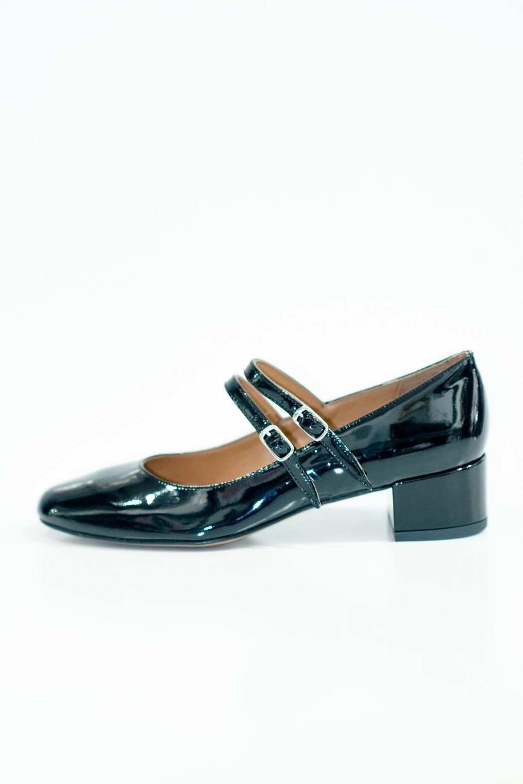 7f9ca65b964 Round toe with low block heel makes these the perfect day to night shoe.  Heel height 4.5cm Patent Leather Ballerina by Lady Doc.