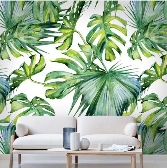 Relief Light green leaf Wallpaper for Living Room Bedroom