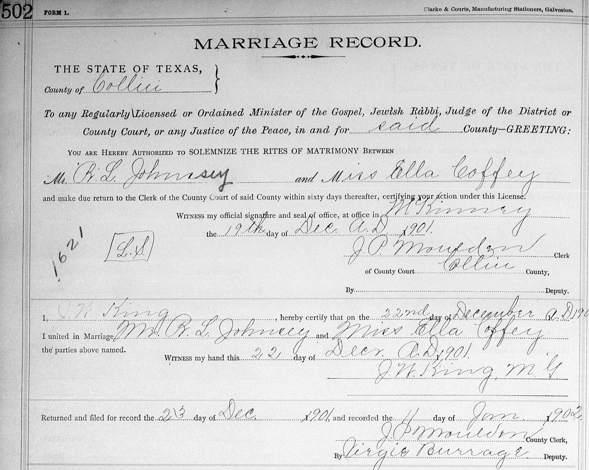 Marriage Records Justice Of The Peace Writing Project
