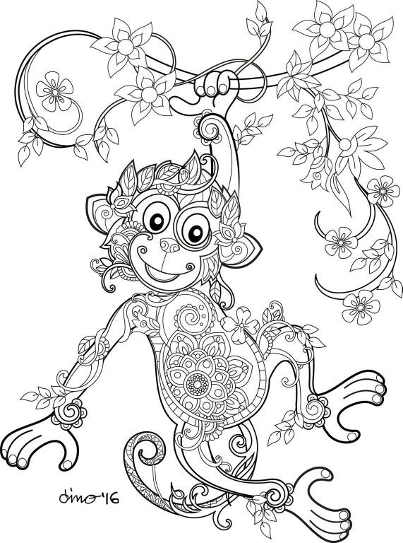Monkey Coloring Page Coloring Pinterest Coloring Pages Adult