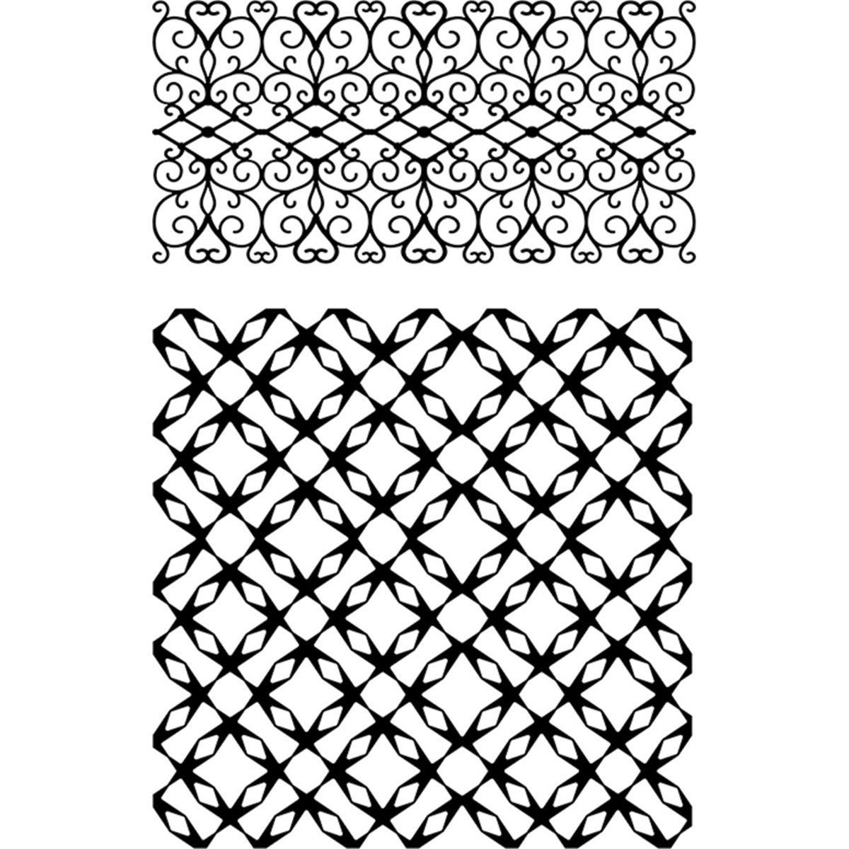 """Ultimate Crafts Background Stamps 4""""x6"""" Jewelled Lattice"""