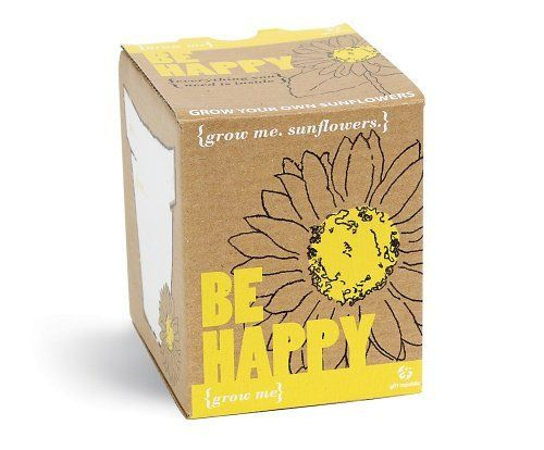 Gift Republic Grow Me Be Happy Plant By Gift Republic 6 00 This Gift Box Includes Everything Needed To Grow Sunflowers Cadeaux Originaux Plante Tournesols
