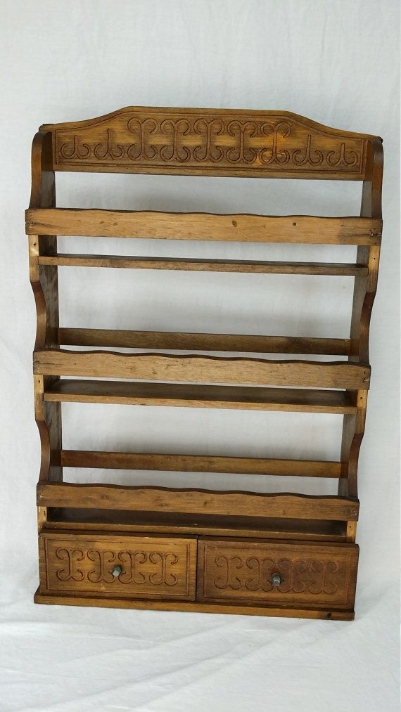 Wood Wall Mountable Spice Rack With Engraved Design   3 Shelves And 2  Drawers   Wooden