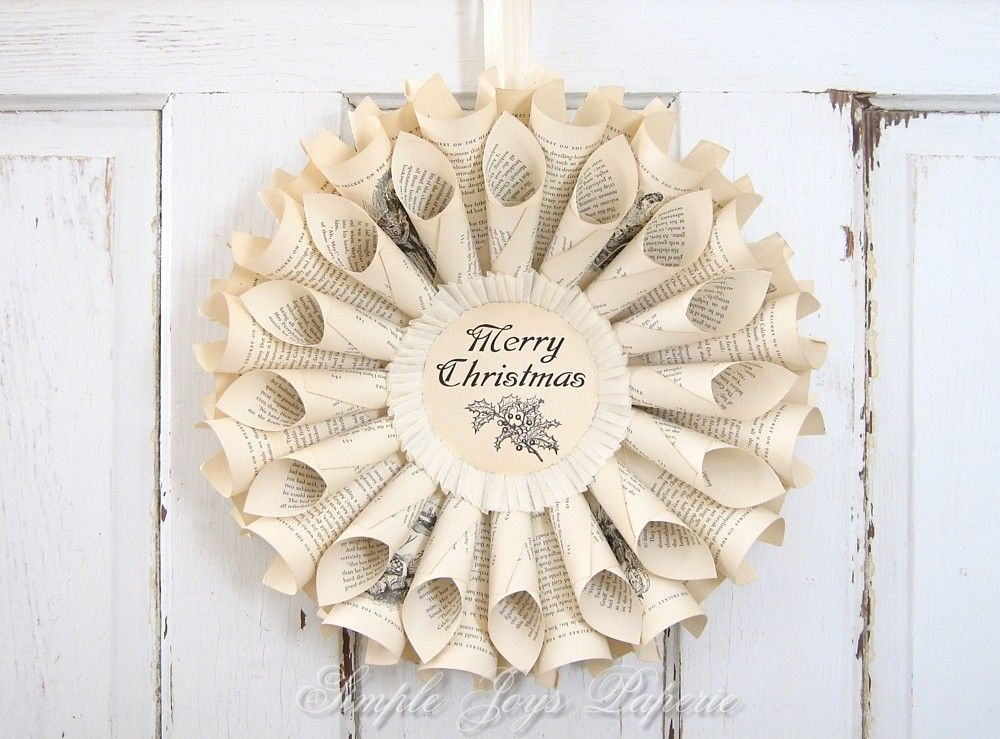 Oh snap, this is cool!!   Christmas Wreath - Book Page Wreath - Holiday Decor - Vintage Book Pages - Cottage Chic - MTO. $50.00, via Etsy.