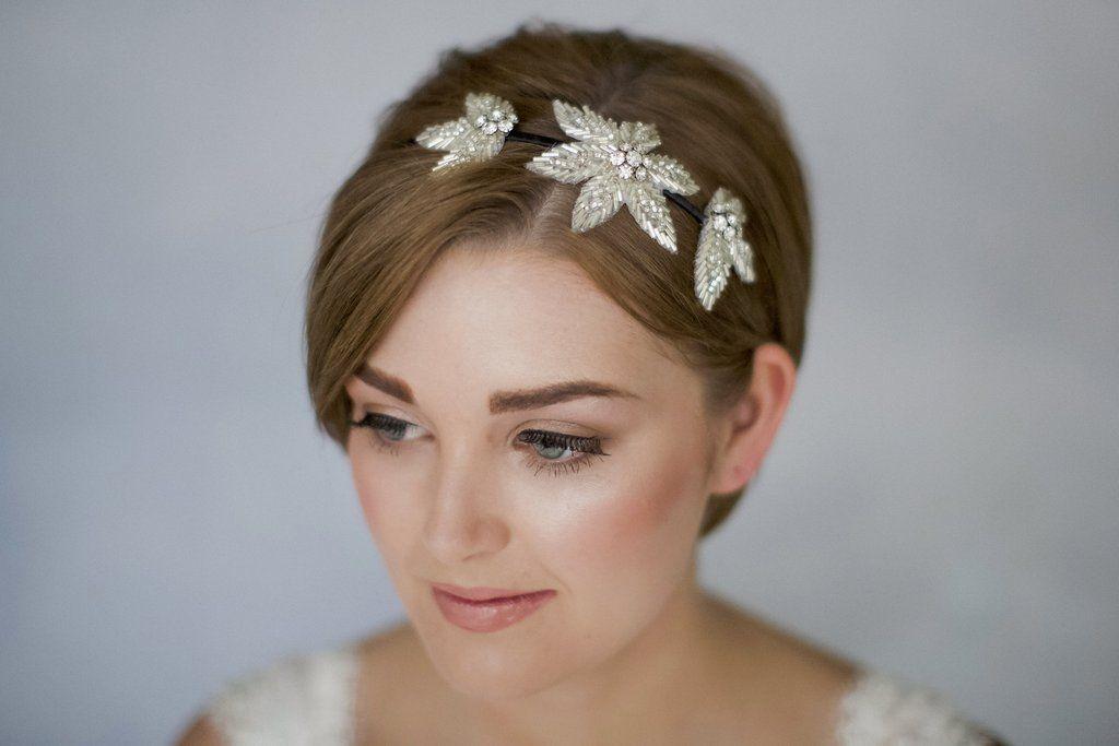 Flower Headband For A Bride With Short Hair Bridal Headbands