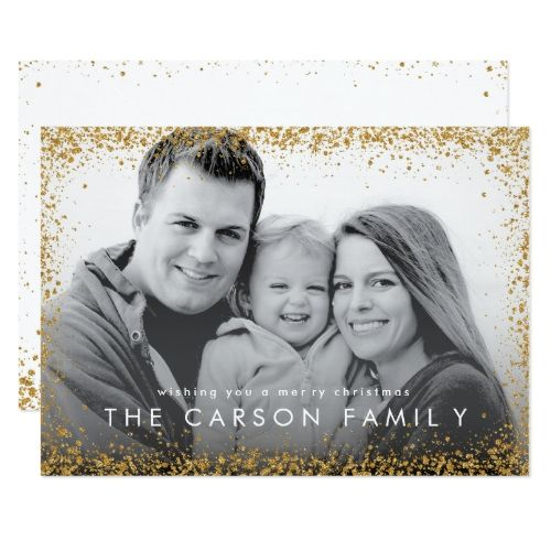 glitter border christmas card in faux gold glitter