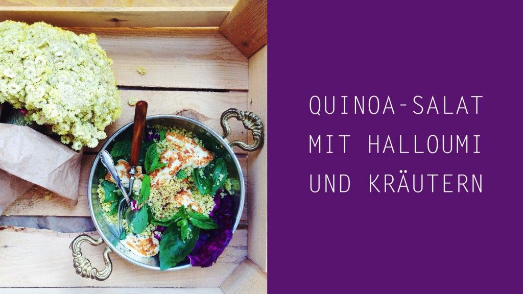 Quinoa-Salat mit gegrilltem Halloumi, Kräutern und Tahini-Dressing (vegetarisch, gluten-frei, fructosearm, FODMAP) // fructopia.de