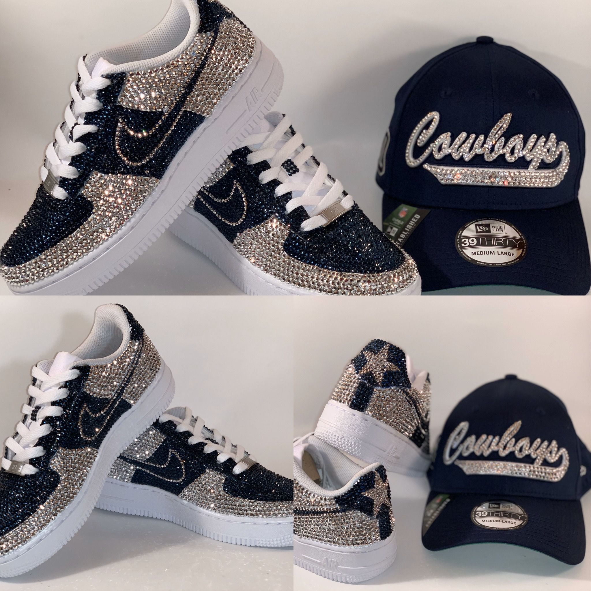 Dallas Cowboy Inspired Blinged Out Air Force 1s; Custom