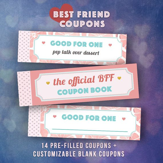 graphic regarding Friendship Coupons Printable identified as Perfect Close friends Presents Do it yourself, Coupon Reserve, Solitary Lady Mate bff