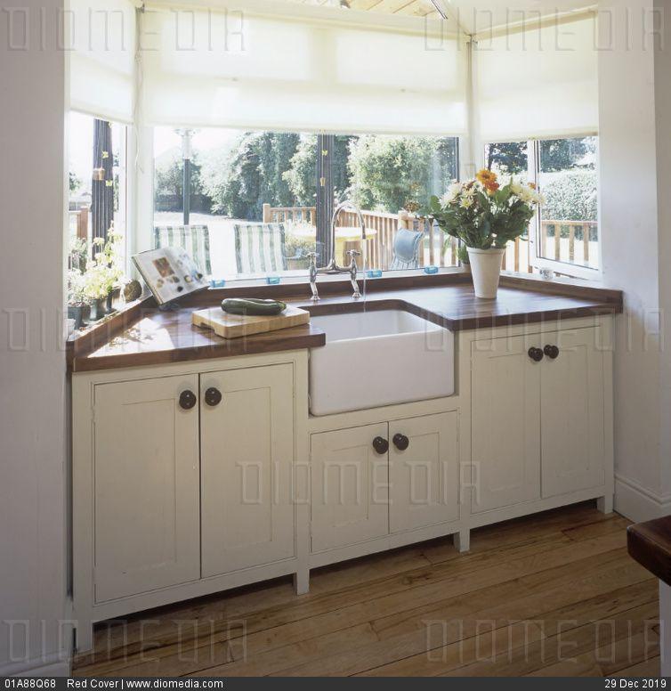 Garden Kitchen Windows Bay Window Above Kitchen Sink: Bay Window Of Kitchen With Wooden Worktop