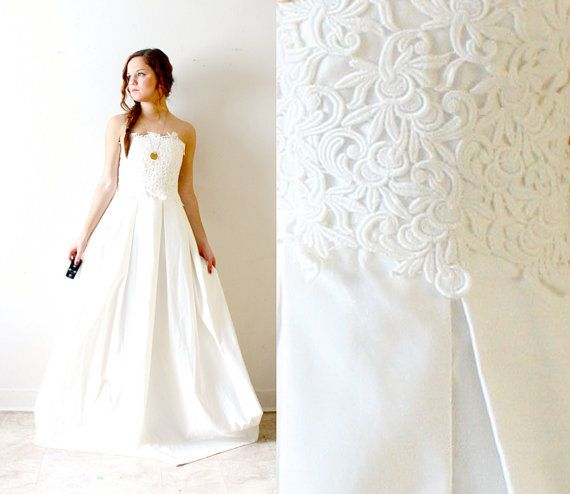 Like the box pleats on the skirt!  Vintage lace strapless pocket wedding dress by BeigeVintageCo, $225.00