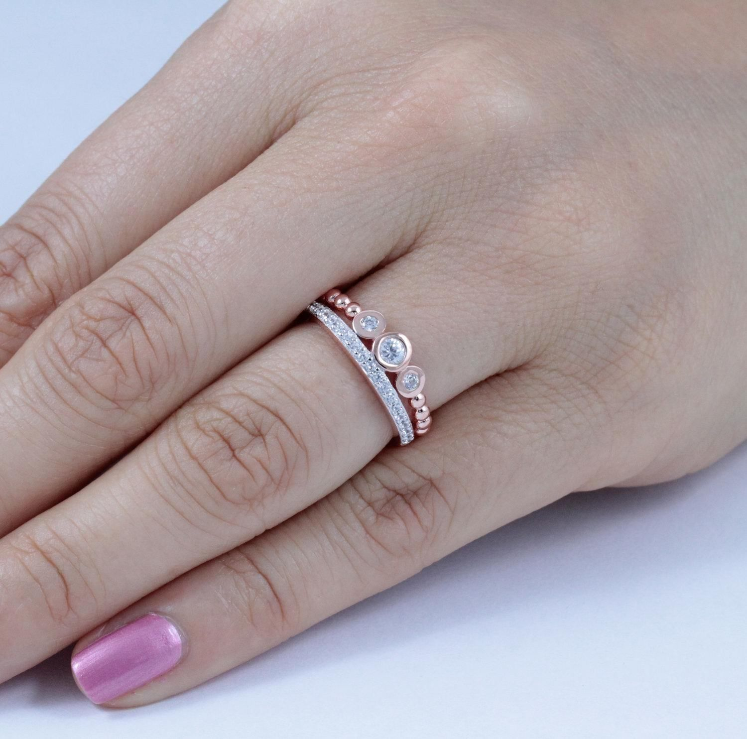 Rose Gold Over 925 Sterling Silver CZ 3Stone Ring Wedding Band Size