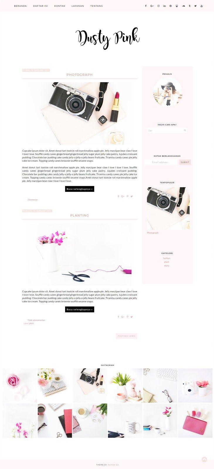 Dusty Pink Blogger Theme Tema Template Minimalis Gratis Responsif