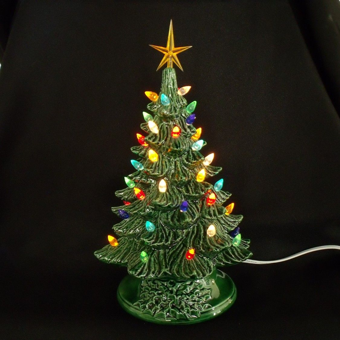 Vintage Style Ceramic Christmas Tree 11 Inches - Lights Glued In ...