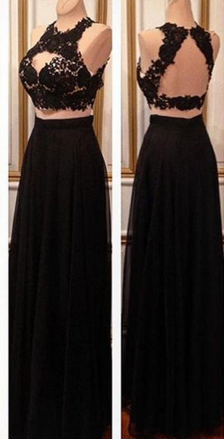 Simple black 2 ball gown, evening gown, evening dress. | Okdressy ...
