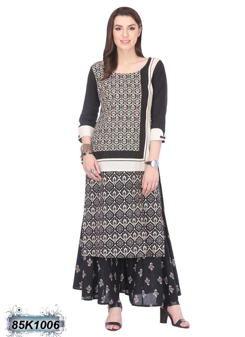 0f64dbce6f Decent Black and Cream Coloured Cambric Cotton Kurti | digens ...