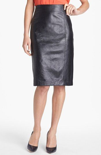 9d9919e47f Halogen® Embossed Leather Pencil Skirt (Regular & Petite) available at  #Nordstrom