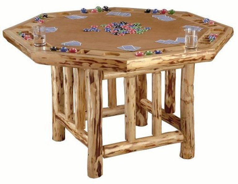 Poker Table Wood Rustic Lodgepole Pine Log Cabin Country Casino