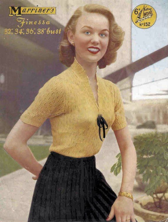 1940s Dainty Lace Sweater Vintage Knitting Pattern PDF Marriners ...