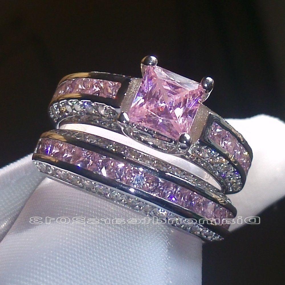 sz 6 10 brand princess cut 10kt white gold filled pink sapphire wedding ring set - Pink Wedding Ring Set