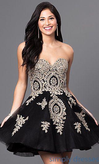 Short Beaded-Lace Applique Corset Babydoll Dress | Pinterest