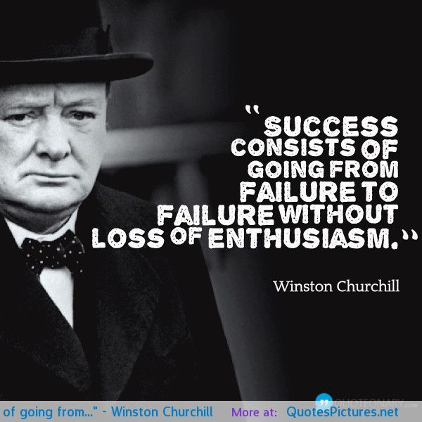 "Inspirational Quotes About Failure: ""Success Consists Of Going From…"""