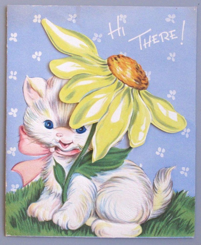 Vintage greeting card birthday cute white cat kitten daisy flower vintage greeting card birthday cute white cat kitten daisy flower kristyandbryce Gallery