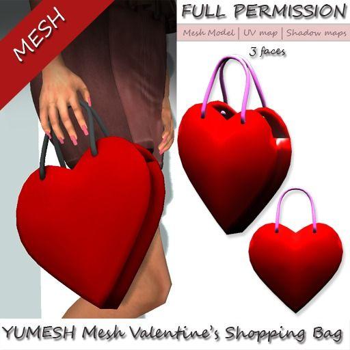 YUMESH mesh Valentine Shopping Bag Full Perm