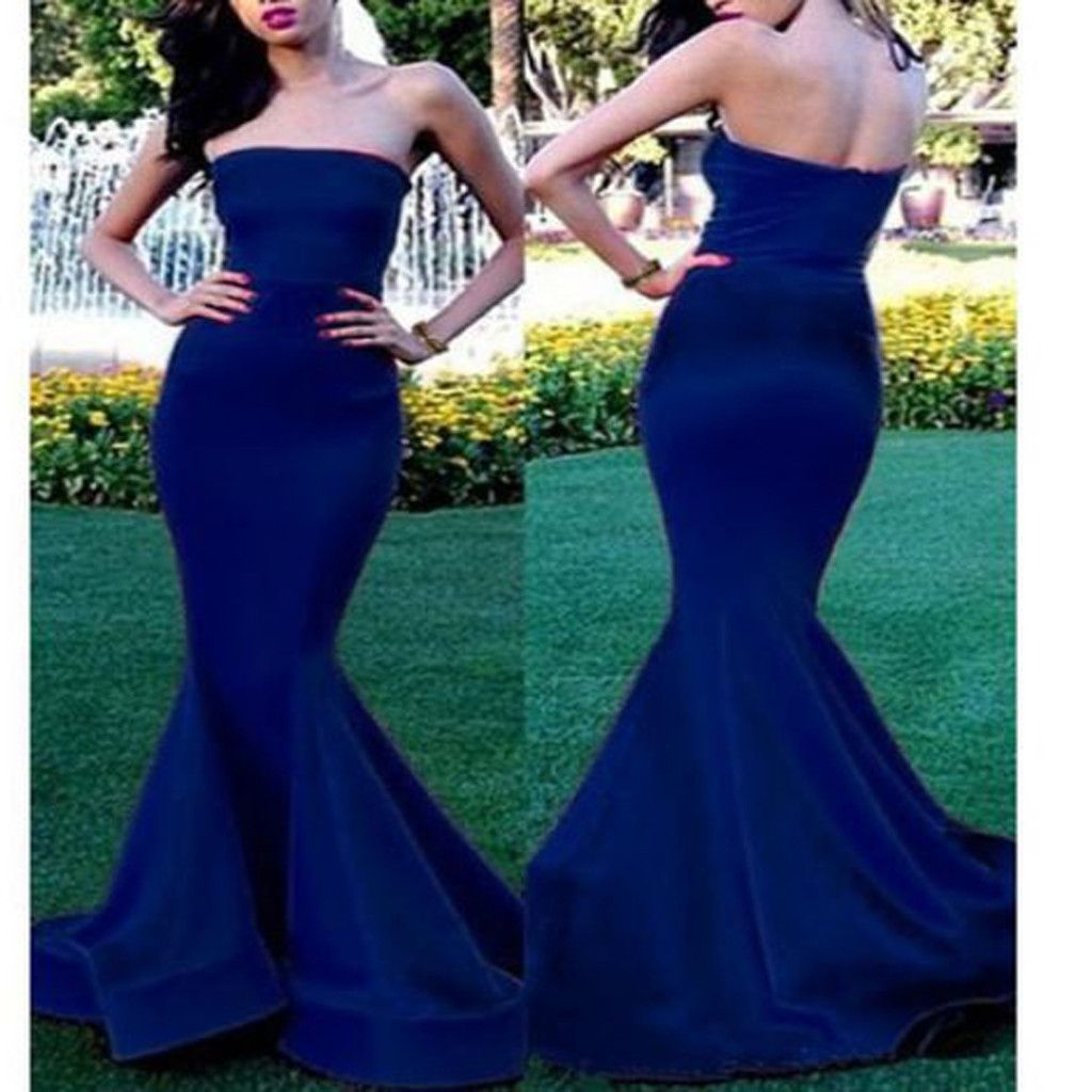 long blue strapless simple mermaid sexy evening prom gown
