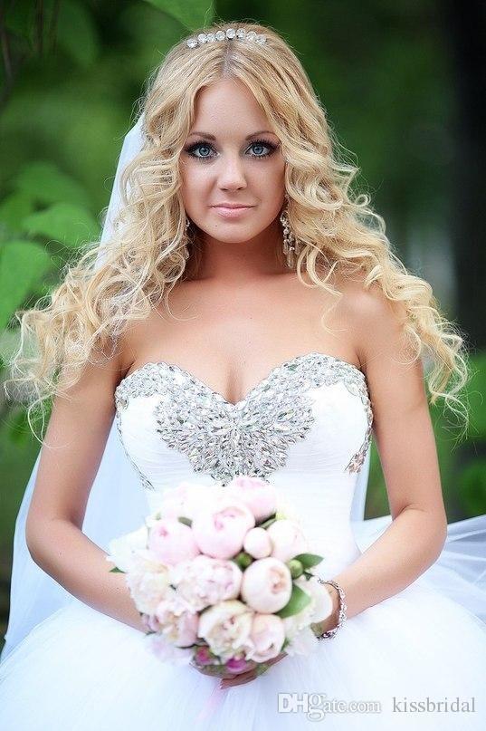 2015 Bling Bling-Ballkleid-Hochzeitskleider White Crystal wulstiger ...