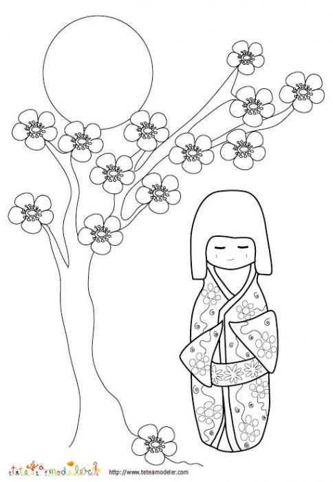 Coloriage D Une Poupée Japonaise Et Fleurs De Pecher