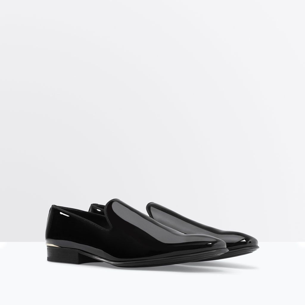 PATENT SLIPPER WITH DETAILED HEEL-Moccasins-Shoes-MAN | ZARA United States