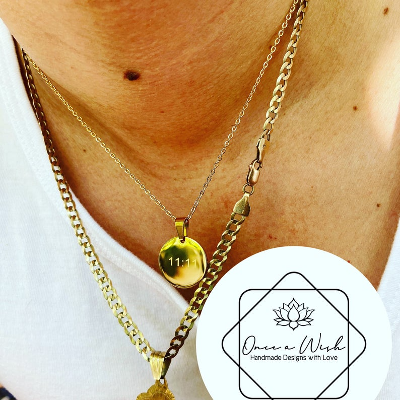 11 11 Necklace Make A Wish Gold Necklace Stainless Steel Etsy In 2021 Gold Necklace Evil Eye Jewelry Delicate Necklace