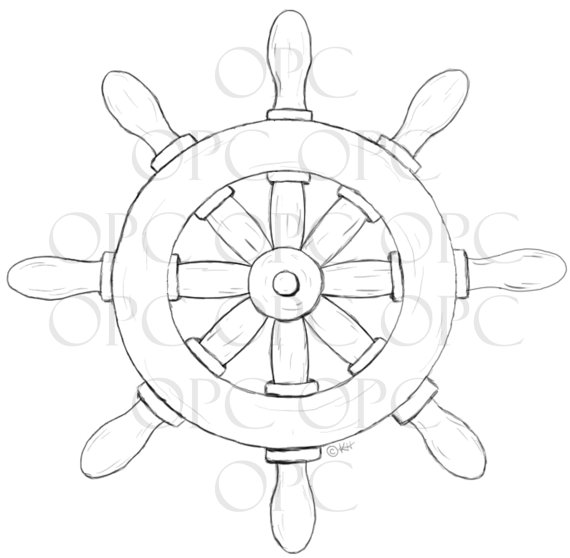 Digital Stamp Ship S Wheel By Oakpondcreations On Etsy 3 00