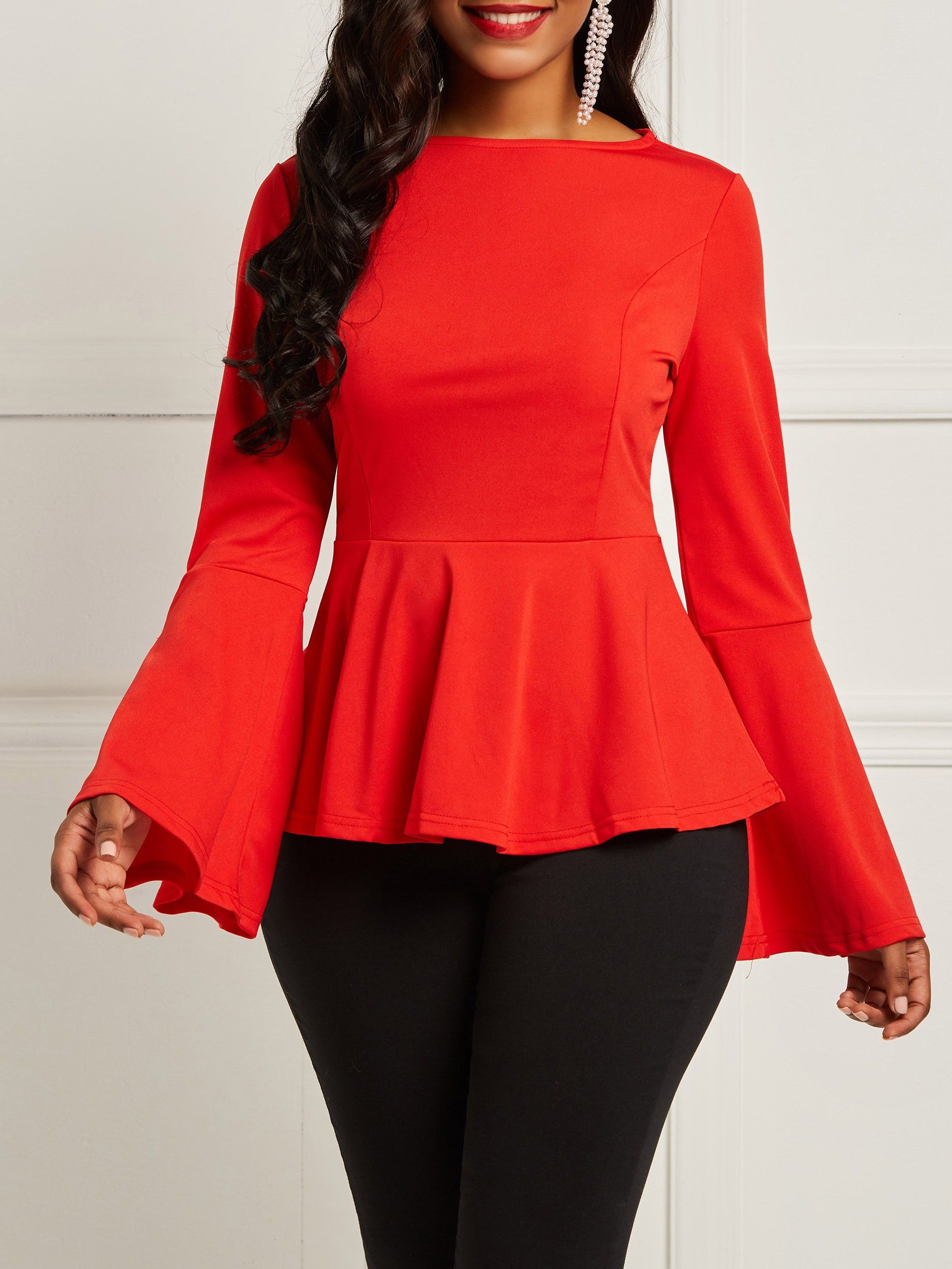 5fdfa24f96753c Plain Round Neck Flare Sleeve Blouse in 2019 | Sheinntrend's Tops ...